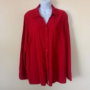 White Stag Red Long Sleeve Button Down Shirt XL